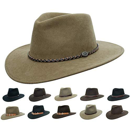 Sombrero de fieltro para exteriores, estilo australiano, muchas variaciones de cinta, resistente al agua Negro M