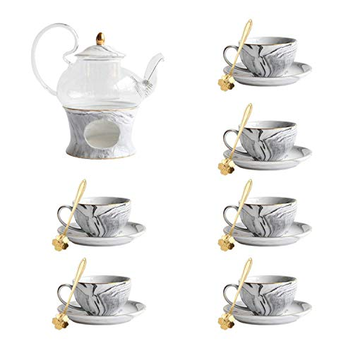 LZZ Portable Travel tea set,Nordic Style Creative Marbled Ceramic Glass Flower Teapot Set Afternoon Tea Set Herbal Tea Cup With Candle Heating Base,02 Set