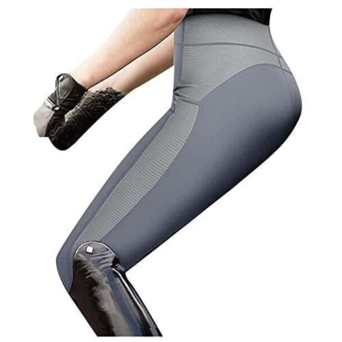 TYTUOO Pantaloni da equitazione da donna, morbidi ed elastici, pantaloni da yoga, equitazione con tasche, B-grigio, M