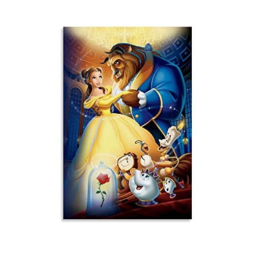 Póster decorativo de la película de Belleza y la Bestia, lienzo para la pared, póster de la sala de estar, cuadro de dormitorio, lienzo moderno para la decoración del dormitorio familiar, 40 x 60 cm