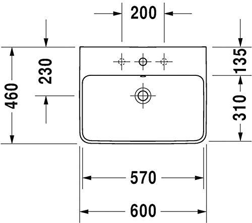 Duravit Waschtisch ME by Starck 60 cm mit Hahnloch und Überlauf