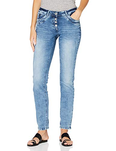 Cecil Damen Scarlett Jeans, Light Blue Used Wash, 32W / 32L