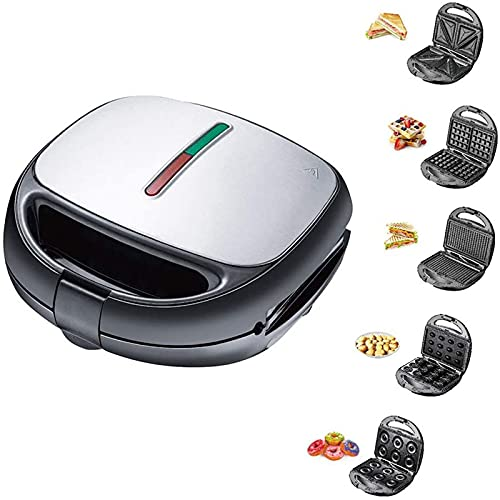 shandianniao Máquina de tostadora de Bocadillo gofres eléctrica 5 en 1, Desayuno...
