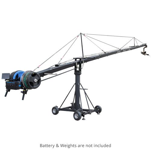 PROAIM Fraser 40ft Camera Crane Noble Package, 3-assige Pan Tilt Head PT-1100 + Robuuste Mega Dolly met Centre Column| Voor Video Film Cinema TV Studio Broadcast Movie Production +Flight Case (JB-FR6T-01)