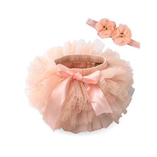 Robe Baby Girl Tutu Skirt 2Pcs Tulle Lace Bloomers Diaper Cover Newborn Infant Outfits Headband Flower Set Baby Mesh Bloomer-Peach-12Months