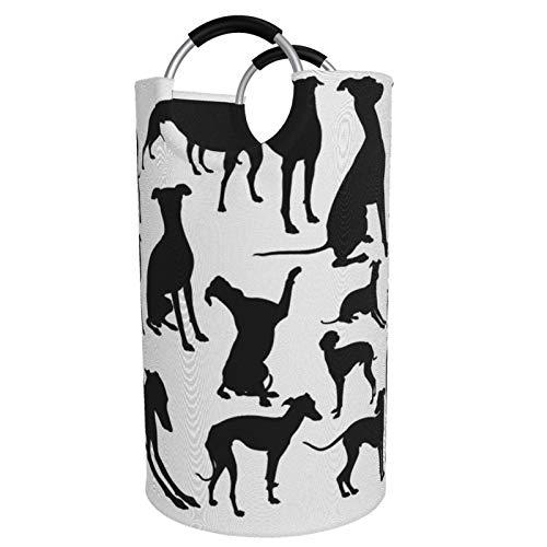 Sunmuchen Cesta de lavandería italiana para perros, impermeable, grande, cesta de almacenamiento para ropa, juguetes, dormitorio, baño, con asas de aluminio