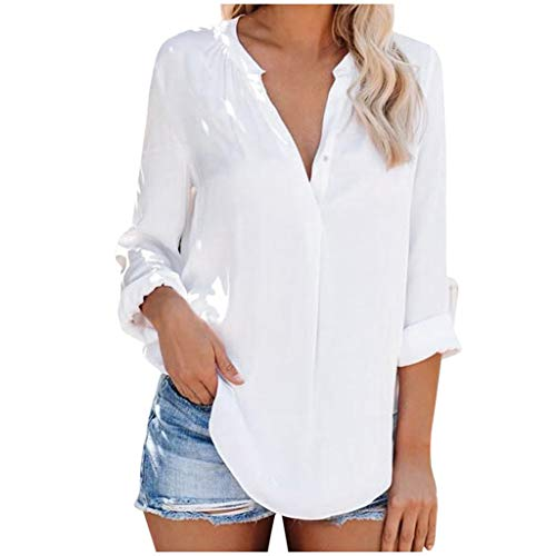 Check Out This Pumsun Womens Button V Neck Shirts Long Sleeve Blouse Roll Up Cuffed Sleeve Casual Wo...
