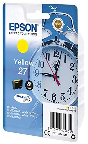 Epson Original 27 Tinte Wecker (WF-3620DWF WF-3640DTWF WF-7110DTW WF-7210DTW WF-7610DWF WF-7620DTWF WF-7710DWF WF-7715DWF WF-7720DTWF, Amazon Dash Replenishment-fähig) gelb
