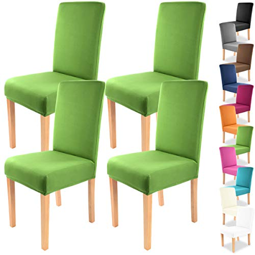 """Gräfenstayn 4pcs Fundas para sillas elásticas Charles - respaldos Redondos y angulares - Paquete Benefit - Ajuste bi-elástico con Sello Oeko-Tex Standard 100:""""Confianza verificada (Verde)"""