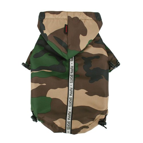 Puppia Authentic Base Jumper Regenjas, 3X-groot, Zwart, 5XL, Camo