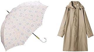 【セット買い】ワールドパーティー(Wpc.) 雨傘 長傘 ピンク 58cm レディース デイジー 64638-09 PK+レインコート ポンチョ レインウェア ベージュ FREE レディース 収納袋付き R-1110 BE