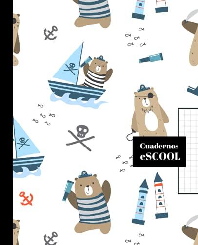 CUADERNO ESCOLAR: Cuaderno de hoja cuadriculada de 4 mm   Cuadrícula 4x4   Tamaño especial para la mochila   100 páginas   Diseño de portada de osito pirata.