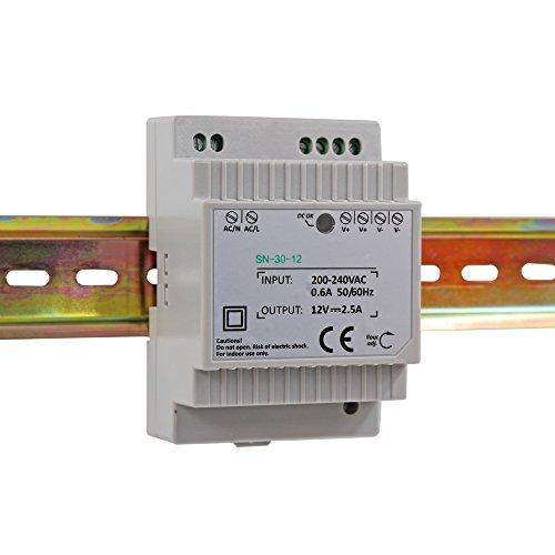 Auforua® Hutschienen Netzteil LED Trafo 230VAC / 12V DC 2.5A 30W; Konstantspannung DIN-Schiene Netzteil für LED Produkte 12V DC; Schaltnetzteil Hutschienennetzteil