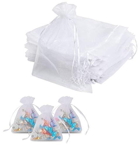 Voarge 100 bolsas de organza, pequeñas, 7 x 9 cm, lavanda, para rellenar, para fiestas, joyas, bodas dulces, color blanco