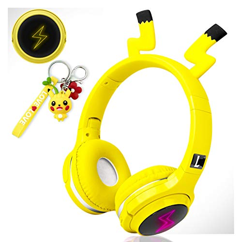 Wireless Headphones for Boys,Girls,Women,Kids,Teens Yellow Bluetooth Headset for Smartphones/iPhone/iPad/Laptop/PC/TV Children Over Ear Gaming Headset with Mic&LED Light&Foldable (Pikachu Yellow)