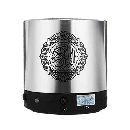 ZJHNZS Altoparlante Bluetooth Altoparlante per Lettore Wireless Mini Quran con registratore in 19 Lingue, 8 GB, Supporto per Altoparlanti Ricaricabili con Registrazione Islamica FM TF, Argento