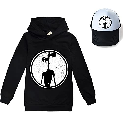 Conjunto de sudadera con capucha con capucha y sombrero de sol, unisex, para niños y niñas, Negro, 3-4 Years