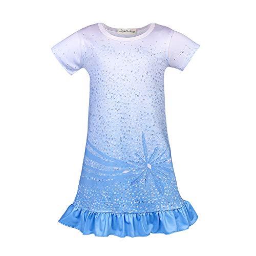 Nobrand - Camisones de princesa para niñas, camisones, pijamas, ropa de dormir, manga larga, azul (2blue), 5-6X