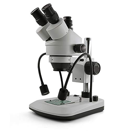 Swift S7-TGL-CA05 Trinocular Gooseneck Zoom Stereo Microscope, WF10X Eyepieces,7X-45X Magnification, Upper Dual-gooseneck LED Light and Transmitted LED Light, Table Pillar Stand,110V-120V