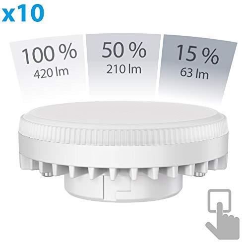 ledscom.de GX53 LED Lampe 6W=38W 420lm weiß 3-Stufen(1. Stufe= 420lm 2. Stufe= 210lm 3. Stufe= 63lm) Stufendimmer 100% 50% 15%, 10 Stk.