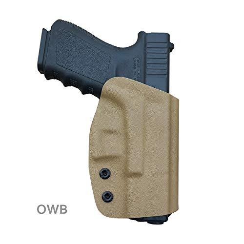 Glock 19 Holster OWB Kydex For Glock 19 19x / Glock 23 25 32 45 / Glock 17 22 31 / Glock 26 27 33 30s (Gen 3 4 5) CZ P10 Pistol Case Waistband Outside Carry 1.5'-2' Belt Clip -Tan, Right Hand Draw