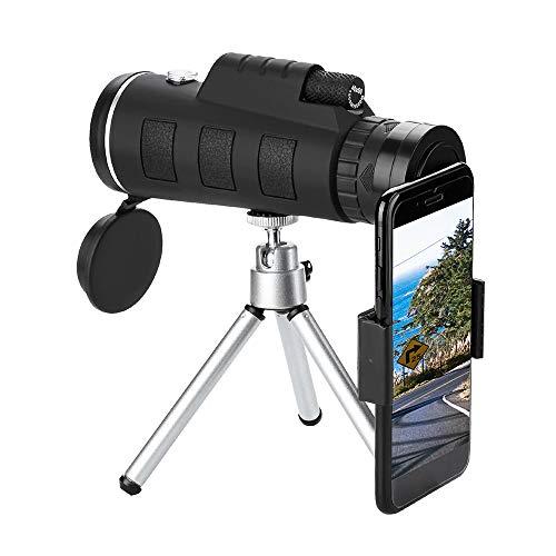 Tickas 40 x 60 lentes ópticas telescópicas bússola + tripé + clipe universal para telefone, telescópio monocular