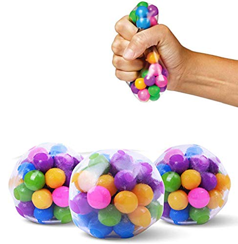 Squishy Stress Balls with DNA Spiky Textures (3-Pack) Colorful Sensory Toy and Stress Relief for Kids, Adults - Water Beads Stress Relief Squeezing Balls - Promote Calm Focus for ADHD, Autism
