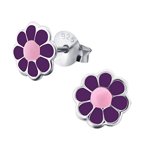 Laimons meisjes kinderen oorstekers oorbellen kindersieraden madeliefbloem bloem plant paars roze 6 mm van sterling zilver 925