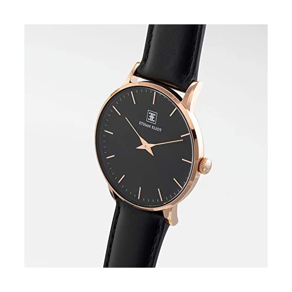Ethan Eliot Men's Watches, Rose Gold 40mm Classic Minimalist Wrist Watches for Men, 5ATM Water Resistant Watch (EE40-RB32BK)