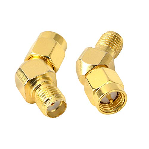 FPV Antenna Adapter SMA Male to Female Antenna Adapter Gold Plated Connector for FPV Race RX5808 Fatshark Goggles Wi-Fi Antenna/Signal Booster/FPV Drone Controller Transmitter WiFi Router Pack of 2