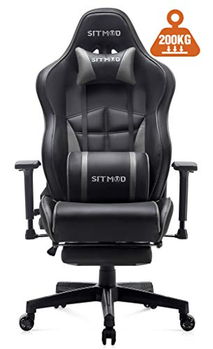SITMOD Gaming Stuhl Game Stühle Racing Sessel Lehnstuhl für PC Computer, Ergonomische Stuhl mit Lordosenstütze 200kg Kapazität PU-Lede E-Sports Gamer Groß und Hoch (Rot)
