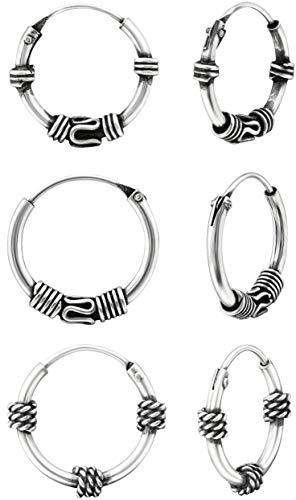 Pendientes de aro de plata de ley 925 de 12 mm estilo Bali/Tribal para cartílago, oreja, nariz y labio (3 pares)