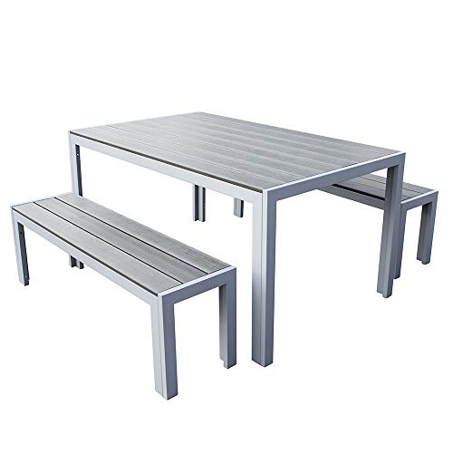 Trueshopping Malmo 3 Piece Polywood Outdoor Garden Furniture Dining Table & Bench Set with Aluminium Frame in Grey