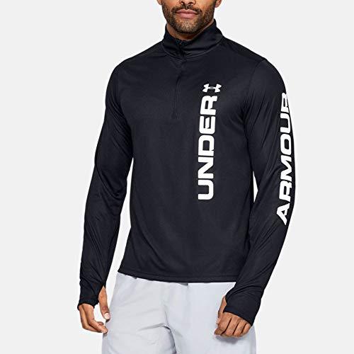 Under Armour Herren UA Speed Stride Split 1/4 Zip langärmliges, leichtes Sportshirt, Komfortables Laufshirt mit reflektierenden Details, Schwarz (Black/White/Reflective (001), X-Large