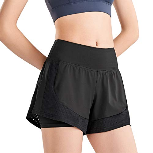 Yidarton Shorts Damen Sport Sommer Yoga 2 in 1 Kurze Hosen Schnelltrocknende Laufshorts Fitness Joggen und Training Sporthose für Yoga Sport Jogging Gym Running Beiläufige Elastisch