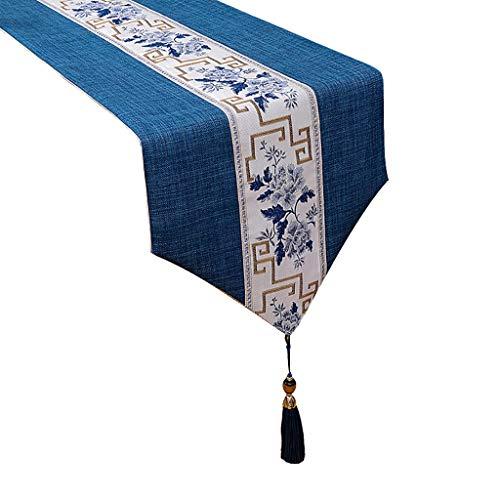 Granja Corredor de la Tabla de Doble Capa de Tela, 100% algodón línea de Vestido de la Borla de la Tela de la Bufanda tablemat Lavable for el Partido, Azul (Size : 33×150cm)