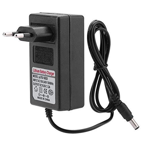 Fdit Cargador de batería de 16,8 V 2 A, Cargador de batería de Plomo-ácido con Conector de 5,5 x 2,1 mm, Adaptador de Corriente de Carga rápida y Segura para Coches(EU Plug)