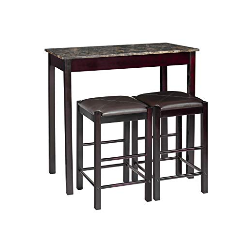 Pearington Remington High Top Counter Height Bar and Pub Table Set with 2 Chairs, Dark Espresso