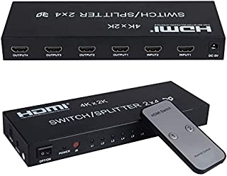 avedio links 2 in 4 Out HDMI 4KX2K Switch Splitter.This hdmi switcher Compact HDMI selector 2x4 6 Ports with Audio Out (1 SPDIF and 1 AUX for Headphone) Includes IR Remote Control,Power Adapter