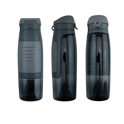 Water Bottle BPA Free Storage Money Key Secret Compartment for Gym Workout Exercise (Grey)
