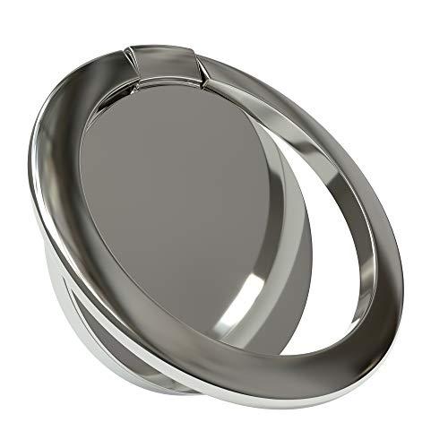EAZY CASE Smartphone Ring Fingerhalterung, 360° Drehbar, für vereinfachte Einhandbedienung, Handy Halterung, Smartphonehalter, Finger Halterung, Silber