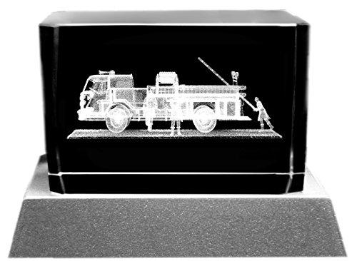 Kaltner Präsente Stimmungslicht – Ein ganz besonderes Geschenk: LED Kerze/Kristall Glasblock / 3D-Laser-Gravur Motiv FEUERWEHR