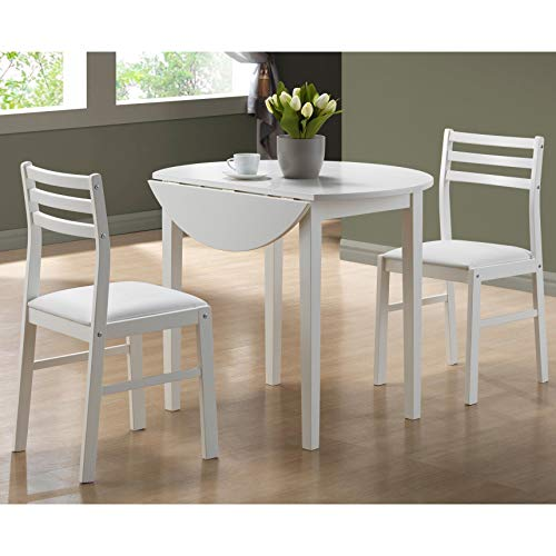 """Monarch Specialties I 3-Piece Dining Set with 36"""" Diameter Drop Leaf Table, White"""