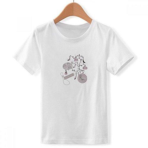 DIY thinker jongens hoge hakken schoenen bloem tas patroon ronde hals wit T-shirt