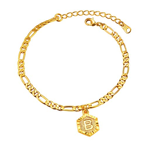 Suplight Gold Anklet with Initial B Adjustable Foot Chain Beach Ankle Bracelets Stainless Steel Waterproof Thick Anklets for Women