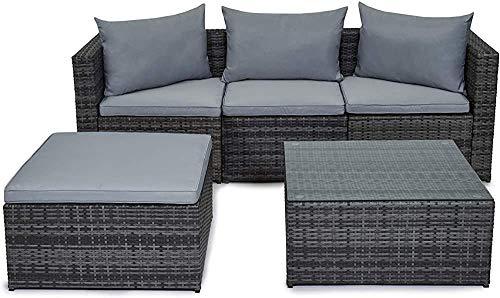 Muebles de patio al aire libre, jardín de ratán sofá mesa, gris,Grey