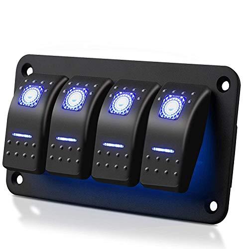 Panel de interruptor basculante de 4 vías, impermeable, 5 pines, interruptor de encendido y apagado 12 V/24 V con luz LED azul para RV, barco, coche, camión, etc.