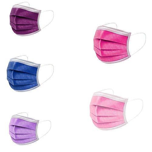 50 Stück Rosa/Lila/Blau 3 lagig Mund-Nasen-Schutz Atmungsaktive Einmal-Mundschutz Sport im Freien Motorrad Fahrrad Staubschutz Bandana (50, E)