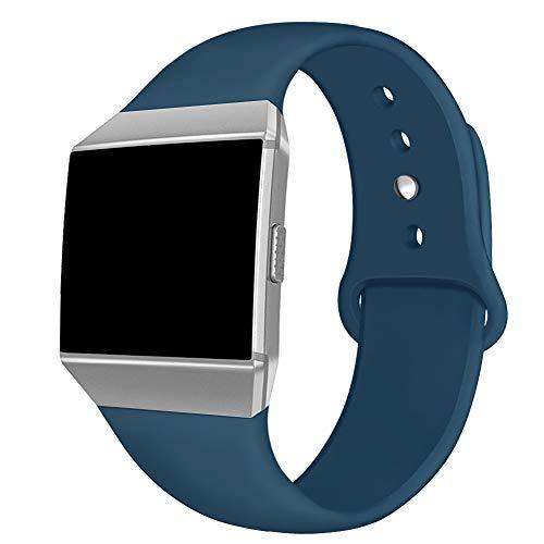 Kmasic Compatible Fitbit Ionic Correas, Correa Deportiva de Silicona Suave Reemplazo Transpirable Pulseras para Fitbit Ionic Smart Watch, Mujer Hombre, Grande, Pizarra