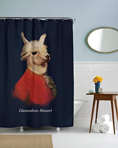prz0vprz0v Llama Duschvorhang, lustiger Duschvorhang, einzigartiger Duschvorhang, Llamadeus Mozart Dekor, Tier-Duschvorhang, Marineblau, 187,8 x 182,9 cm